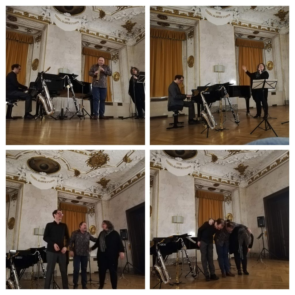 Devet jazz band plays live in AltenRathaus in Vienna. Piano, Sax and vocals